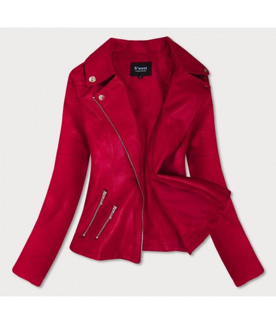 Dámska koženková bunda MODA18 červená S