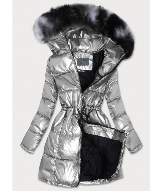 Dámska zimná bunda MODA9528 strieborná veľkosť XL