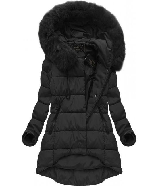 Asymetrická dámska zimná bunda MODA670 čierna XL