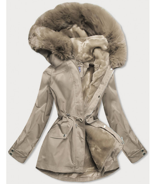 Dámska zimná bunda s odopínateľnou teplou podšívkou MODA2717 béžová