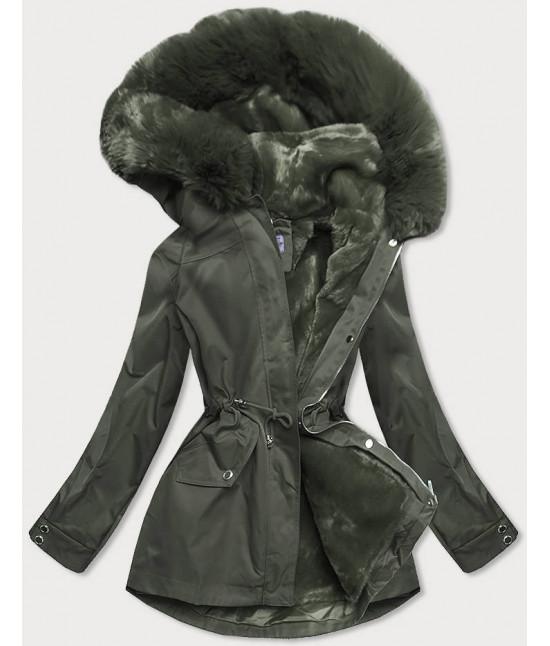 Dámska zimná bunda s odopínateľnou teplou podšívkou MODA2717 khaki