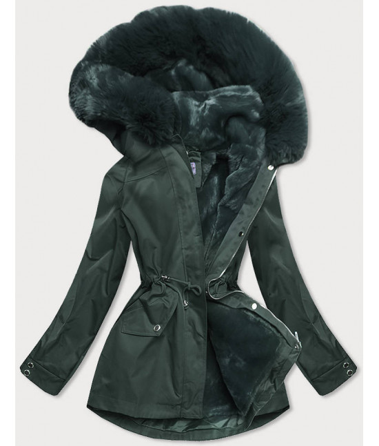 Dámska zimná bunda s odopínateľnou teplou podšívkou MODA2717 tmavozelená