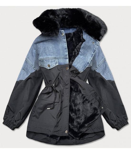 Dámska jeansová jesenná bunda s kožúškom MODA589 čierna