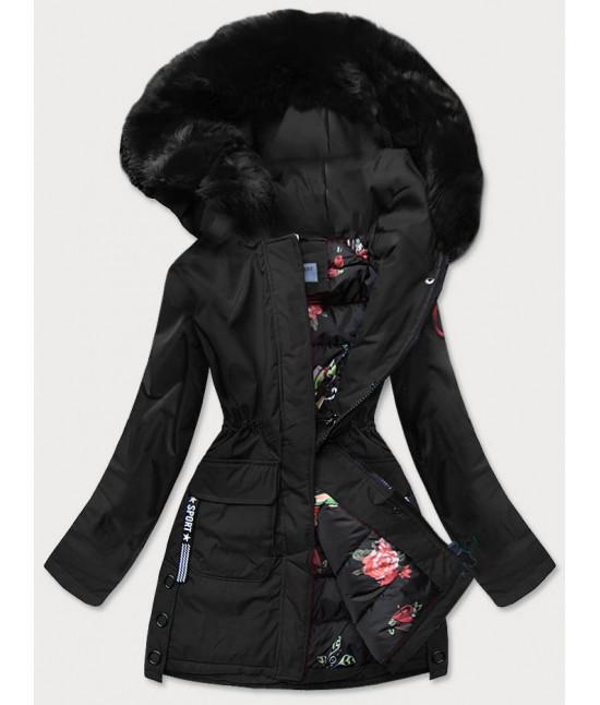 Dámska zimná bunda s ozdobnou podšívkou MODA576 čierna