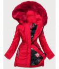 Dámska zimná bunda s ozdobnou podšívkou MODA576 červená