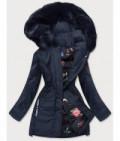 Dámska zimná bunda s ozdobnou podšívkou MODA576 tmavomodrá
