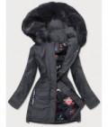 Dámska zimná bunda s ozdobnou podšívkou MODA576 tmavošedá