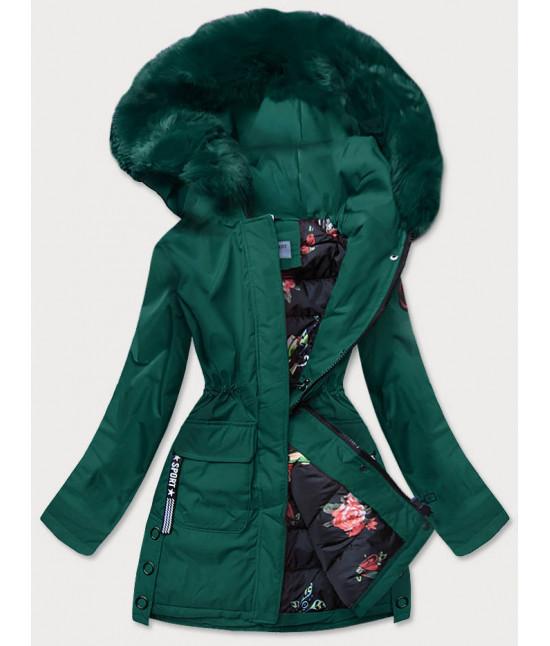 Dámska zimná bunda s ozdobnou podšívkou MODA577 zelená