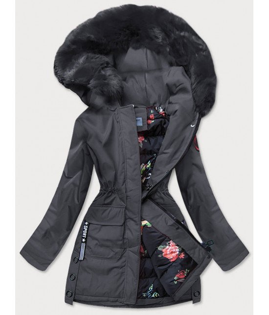 Dámska zimná bunda s ozdobnou podšívkou MODA577 tmavošedá