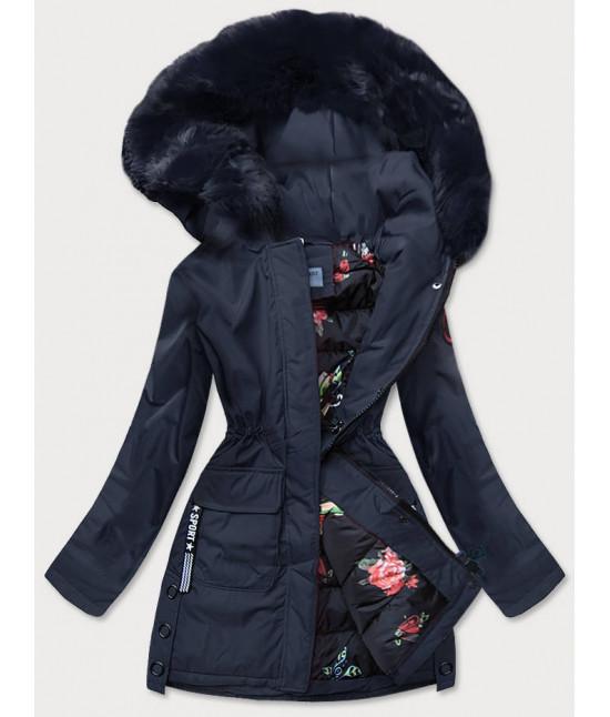 Dámska zimná bunda s ozdobnou podšívkou MODA577 tmavomodrá