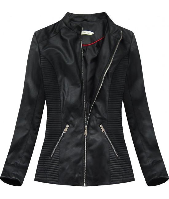 Dámska koženková bunda MODA025 čierna veľkosť XXL