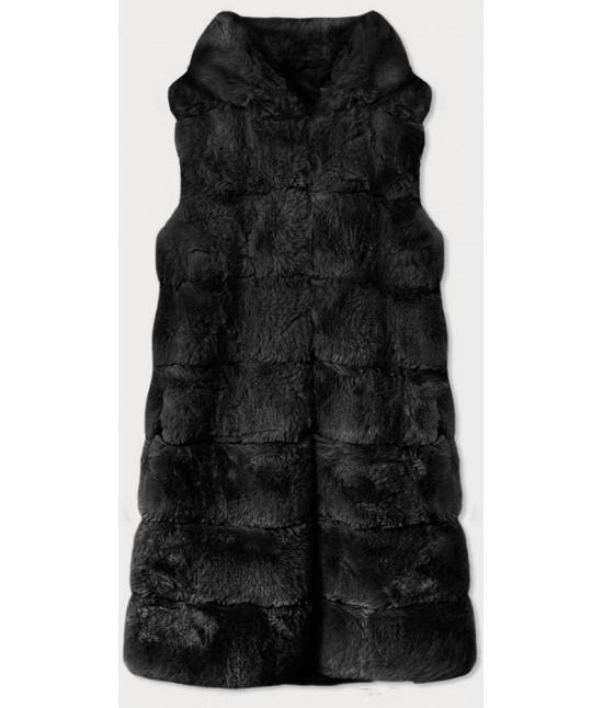 Dlhá dámska kožušinová vesta MODA740 čierna