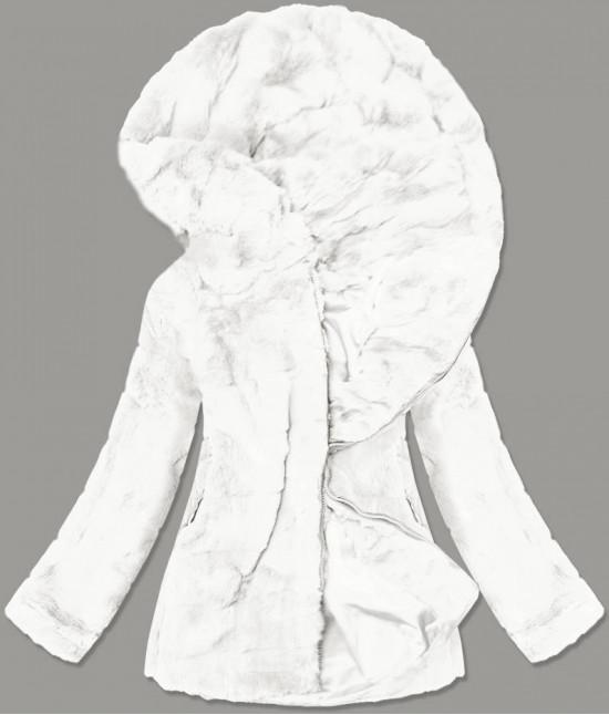 Dámska jesenná kožušinová bunda MODA9742 biela