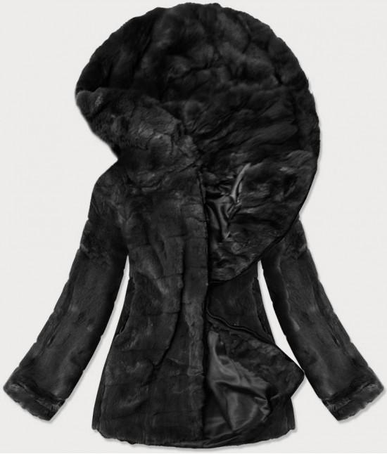 Dámska jesenná kožušinová bunda MODA9742 čierna