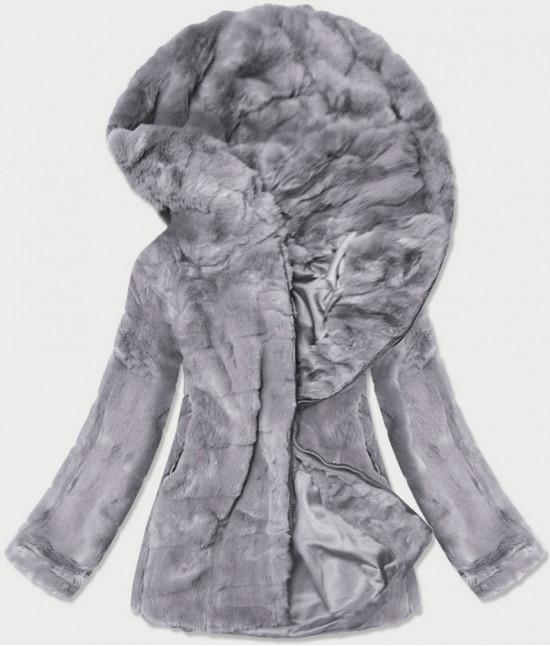Dámska jesenná kožušinová bunda MODA9742 šedá