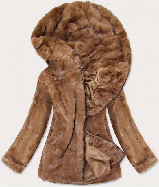 Dámska jesenná kožušinová bunda MODA9742 hnedá