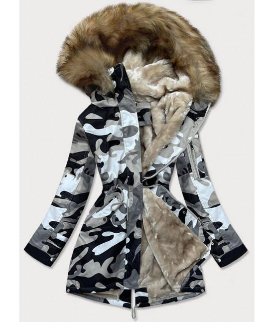 Dámska zimná bunda parka MODA528 šedá