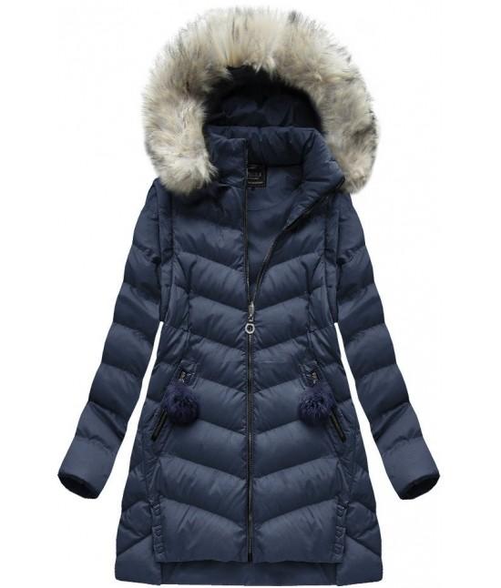 Dámska zimná bunda MODA761BIG tmavomodrá veľkosť 4XL