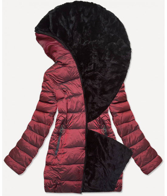 Dámska obojstranná zimná bunda MODA581BIG bordová