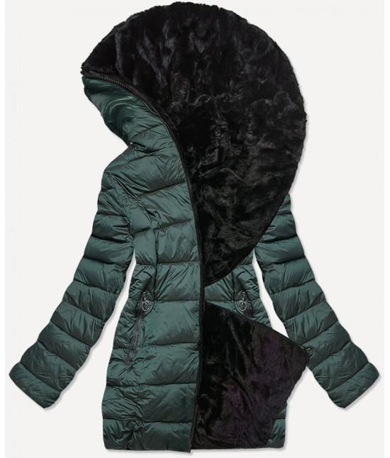 Dámska obojstranná zimná bunda MODA581BIG zelená