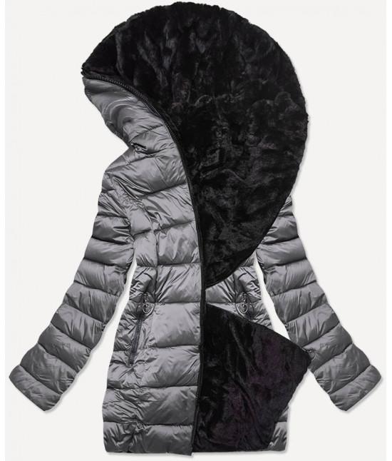 Dámska obojstranná zimná bunda MODA581BIG tmavošedá
