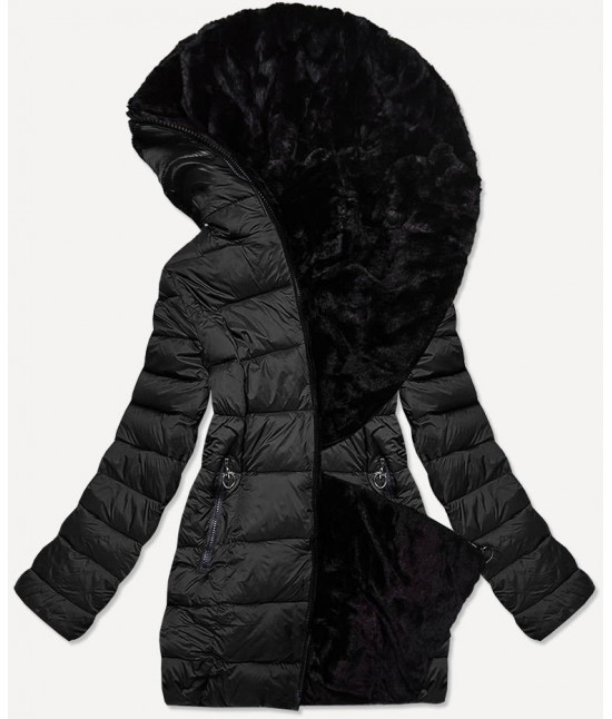 Dámska obojstranná zimná bunda MODA581BIG čierna