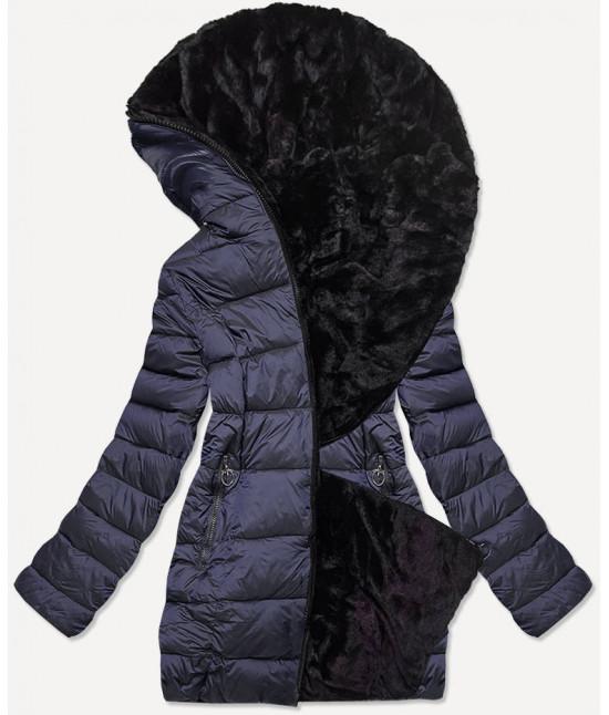 Dámska obojstranná zimná bunda MODA581BIG tmavomodrá
