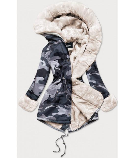 Dámska zimná bunda parka MODA524 šedo-biela