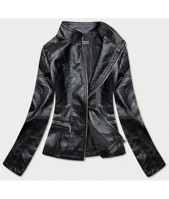 Dámska koženková bunda MODA13 čierna veľkosť M