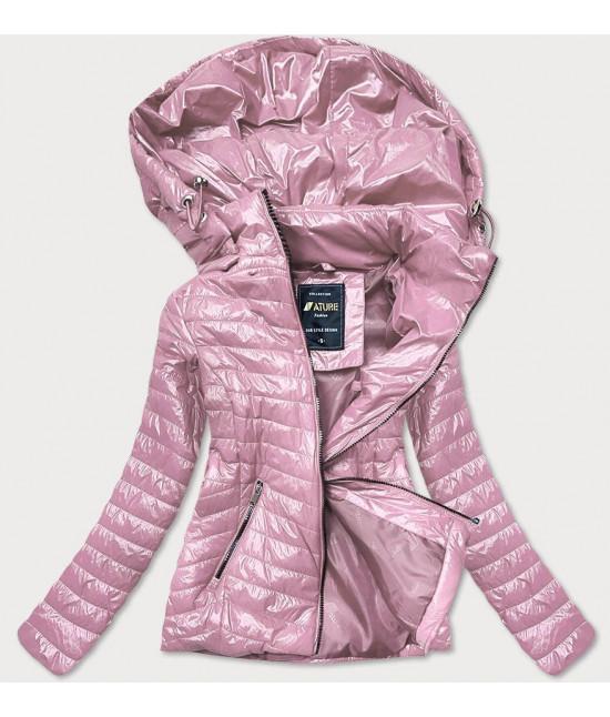 Dámska jarná lesklá bunda MODA6384 staroružová veľkosť 3XL