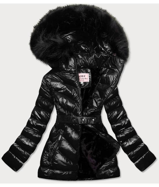 Lesklá dámska zimná bunda MODA673 čierna
