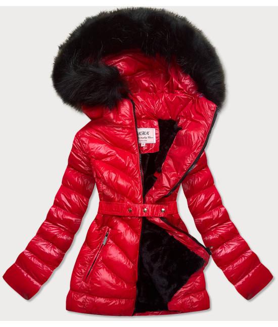 Lesklá dámska zimná bunda MODA673 červená