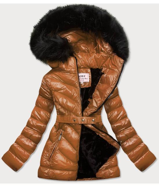 Lesklá dámska zimná bunda MODA673 karamelová