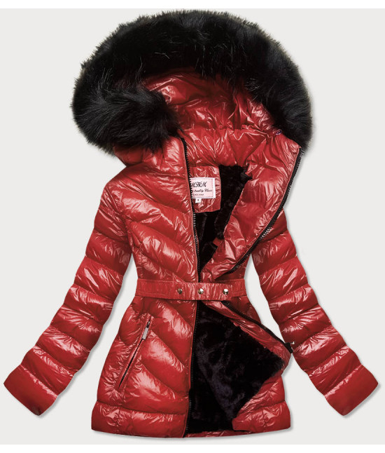 Lesklá dámska zimná bunda MODA673 bordová