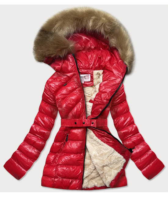 Dámska lesklá zimná bunda MODA674 červená