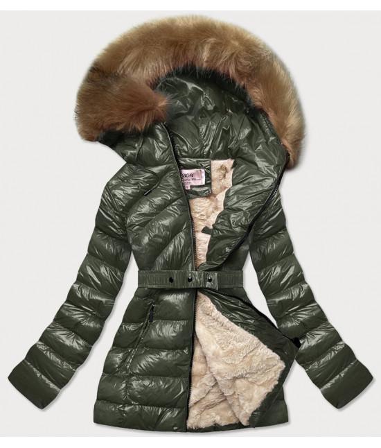 Dámska lesklá zimná bunda MODA674 khaki