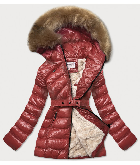 Dámska lesklá zimná bunda MODA674 bordová