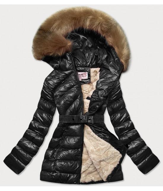 Dámska lesklá zimná bunda MODA674 čierna