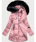 Dámska asymetrická zimná bunda MODA8953 ružová