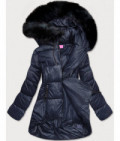 Dámska asymetrická zimná bunda MODA8953 tmavomodrá