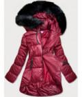 Dámska asymetrická zimná bunda MODA8953 bordová