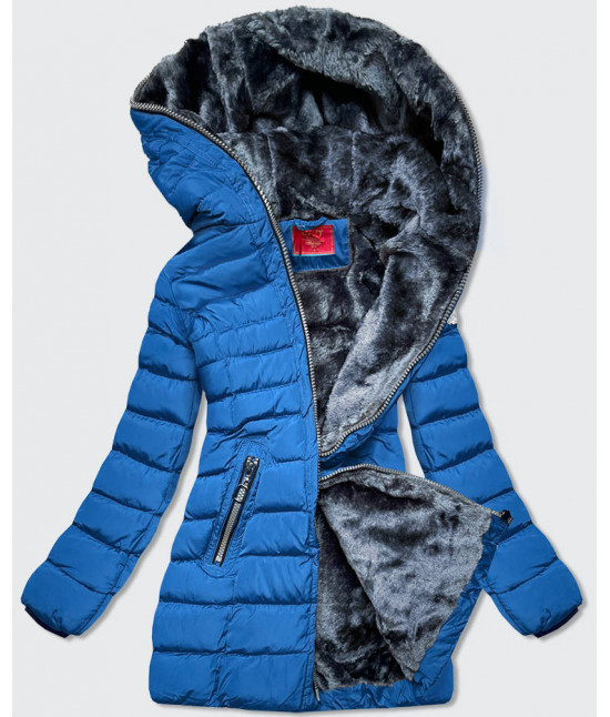 Prešívaná dámska zimná bunda MODA133 modrá L