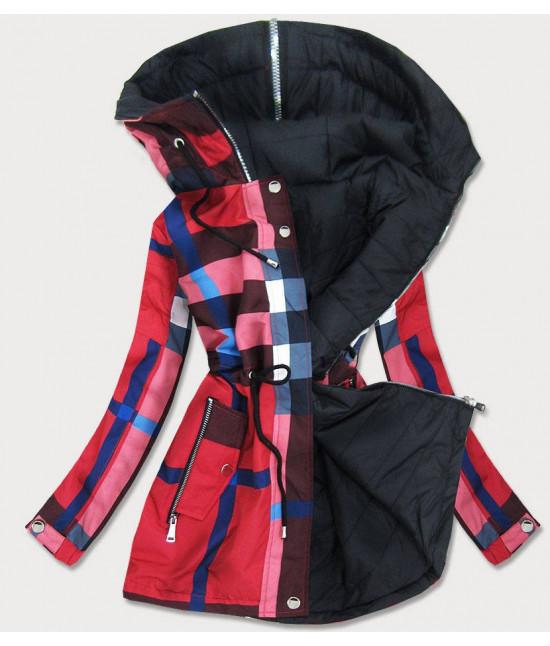 Obojstranná prechodná bunda parka MODA653 červeno-čierna veľkosť S