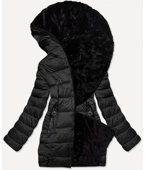 Dámska obojstranná zimná bunda MODA581BIG čierna veľkosť 5XL