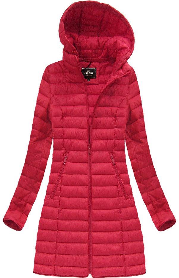 dámska dlhá jesenná bunda červená