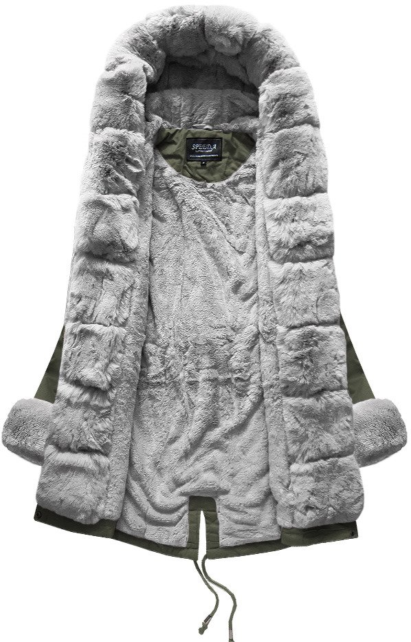 zimná bunda dámska s kožušinou khaki