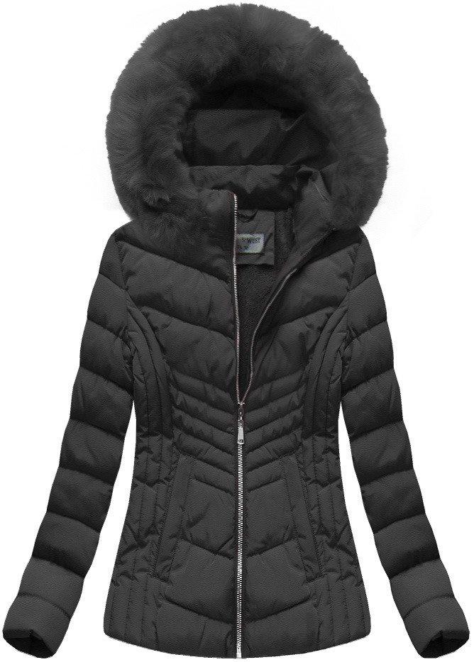Krátka zimná bunda dámska čierna